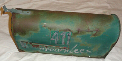 VINTAGE Green Paint RUSTIC GALVANIZED FARM RURAL MAILBOX Steel city co large