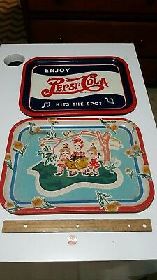 2 -  Vintage Pepsi Cola Soda Serving Trays, Rare Collectible ,  No Reserve !