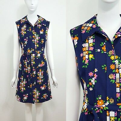 VTG Haypence 60s 70s Blue Floral Button Front Belted Shirt Dress Size Small