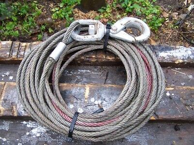 21M Steel Cable Rope C/w Hook 10Mm Electric Hydraulic Winch Landrover Recovery