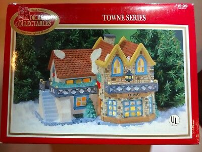 Dickens Collectables Hand-Painted Porcelain Lighted House: Library