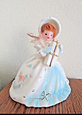 Josef Originals Figurine, Bonnets & Bows Series, Girl with Gift Box, Free Ship