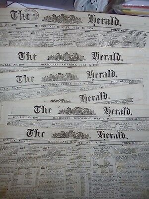 Six Issues Melbourne Colonial Newspapers..1859