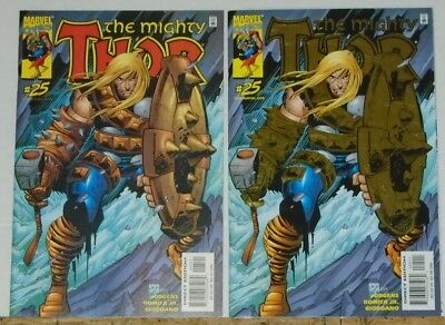 Thor #25 gold foil & #25 non-enhanced variant lot of 2 high grade NM-/NM