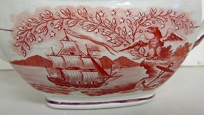 Antique Historical English Pink Luster Teapot American Ships W/flag & Eagle