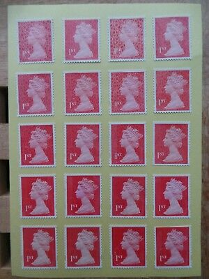 1000 Red Security Flawed 1st First Class Stamps - Peel and Stick - Gummed