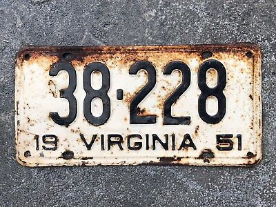 1951 Virginia BLACK ON WHITE License Plate #38-228 only 5 digits