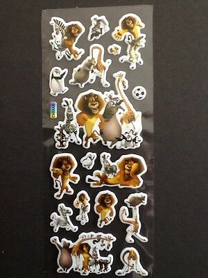 MADAGASCAR Penguins Lion Padded PVC Stickers 5 Sheets = 85 Stickers Cartoon