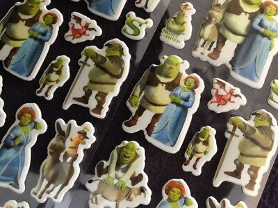 SHREK Cartoon Padded PVC Stickers 5 Sheets =80 Stickers Childrens Party Bag Gift