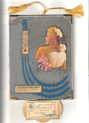 1951 Advertising Art Deco Calander Mirror Thermometer Pin Up Girl Very Nice