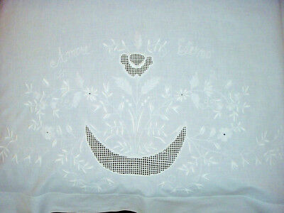 Embroidered White Work Pillow Layover 30 1/2 x 39 Lovely Intricate Embroidery