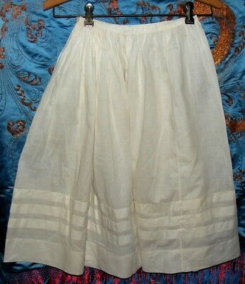 Antique Edwardian Victorian Youth Adult White Lawn Cotton Gathered Skirt