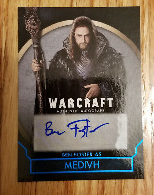 Topps Warcraft Movie Trading Card Autograph Auto Ben Foster Medivh 30/50 BLUE