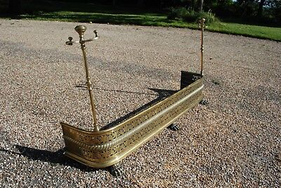 Antique brass fire guard or fender
