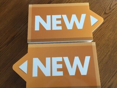 """EIGHT Large Sale Display Signs With The Word """"NEW"""" 1/2"""" Foam Bundle Orange 8""""x16"""