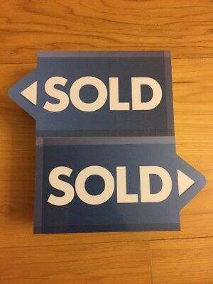 """TEN Small Sale Display Signs With The Word """"SOLD"""" 1/2"""" Foam Bundle Blue 7""""x4"""""""