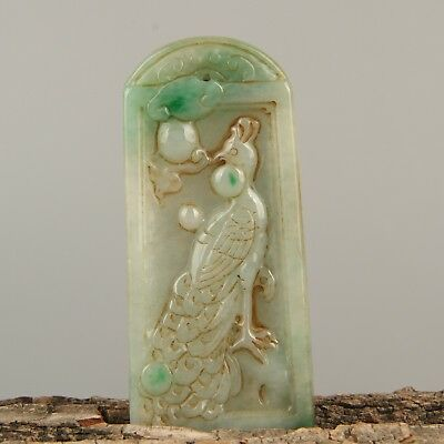 Chinese Exquisite Hand carved peacock Carving jadeite jade Pendant