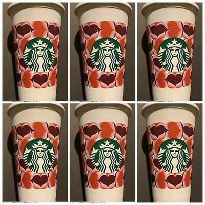 6 Starbucks Reusable Cups 16 OZ Cup Valentines 2019 Day - Hearts RARE Fast Ship