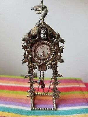 "UNIQUE 1930's STERLING SILVER  ""CUCKOO CLOCK"" WATCH BROOCH PIN WITH STAND"