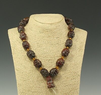 Chinese Exquisite Handmade Eighteen Arhats and Buddha Ox Horn beads necklace