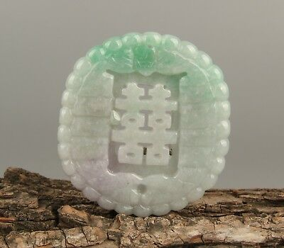 Chinese Exquisite Hand carved Bat double happiness Carving jadeite Jade Pendant