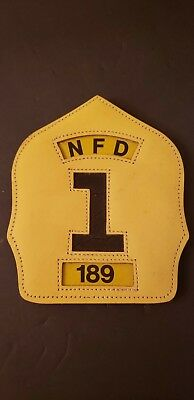 Leather Fire Helmet Front NFD 1