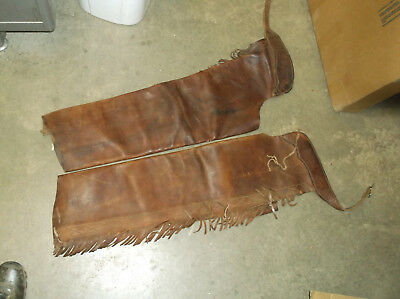 """Vintage Rodeo Full Chaps Cowboy Men's Or Ladies Long 37"""" Heavy Leather Fringed"""