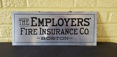 Vintage Boston Fire Insurance Co Advertising Office Sign
