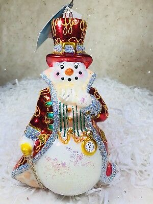 Radko Lord Snowley 1013497 Watch and Cane NWT 2006 Retired Ornament Snowman