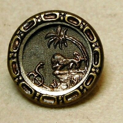 Antique Button ~ TINY Lion and Snake in VINTAGE Victorian BRASS F11