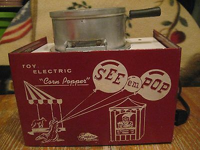 Vintage Empire Metal Ware Toy Electric Popcorn Popper - Rare Model, Works!