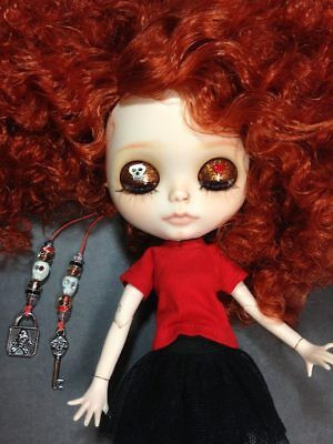 BLYTHE custom doll, wild red curls, lovely faceup, piercings, clothes included