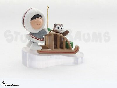 1989 Hallmark FROSTY FRIENDS Eskimo Dog Sled CHRISTMAS TREE Holiday Ornament