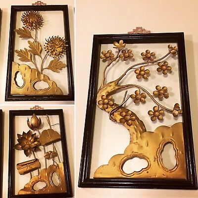 Antique Chinese Pictorial Metal Wall Art Tree Flower Gold Wooden Frame Hong Kong