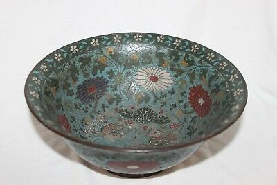 Chinese Cloisonne Bowl, Ming Dynasty; Floral Design With Wood Ducks