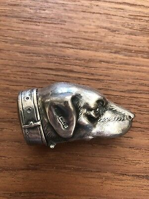 Antique Sterling Silver Pill Snuff Box Engraved Dog English Setter English