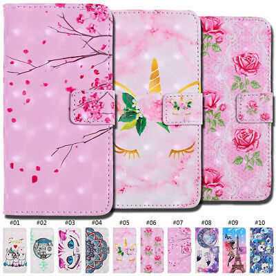 For Samsung PU Leather Wallet 3D Luxury Strap Holder Card Slot Flip Case Cover