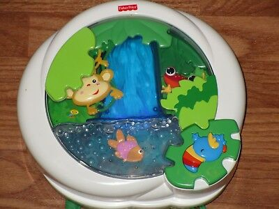 Fisher Price Rainforest Waterfall Peek-a-Boo Crib Soother Lights & Sounds Works!