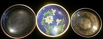 Antique Chinese Cloisonne Dish Lot - All in Excellent Condition