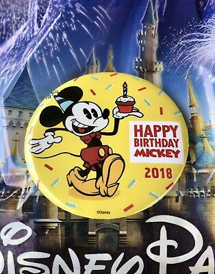 HAPPY BIRTHDAY MICKEY 2018 Button * 90th Anniversary Pin DISNEY MOUSE (P1)