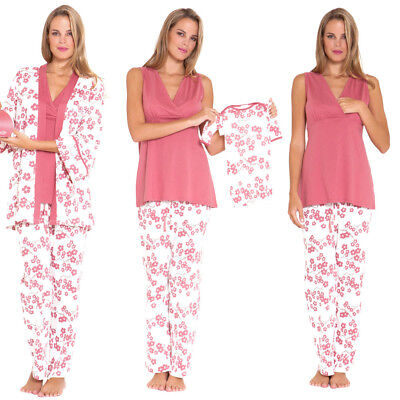OLIAN Maternity Anne Blossoms 4PC. Nursing Mom And Baby PAJAMA SET M Pink NEW