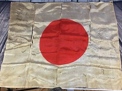 ORIGINAL Vintage Original WW2 Japanese Silk Flag With USA +Japanese Signatures