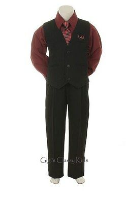 New Baby Toddler Boys Burgundy Black Vest Suit Outfit 4 Piece Christmas Wedding