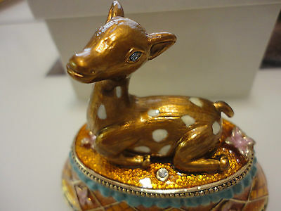 Last One New Bejeweled rhinestone Enamel fawn deer Trinket Jewelry Box