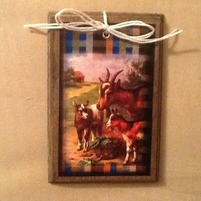 5 Wooden Barn Yard Animal Hang Tags/Ornaments/Bowl Fillers HORSE,GOAT,PIG Set04
