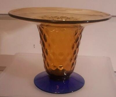 Blenko Art Glass Vase Cobalt/Amber