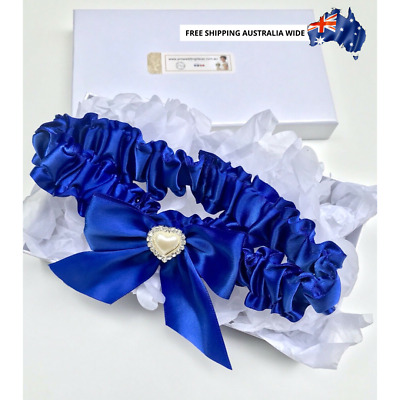 Luxury Royal Blue Garter 1 with Heart Detail - wedding something blue Australia