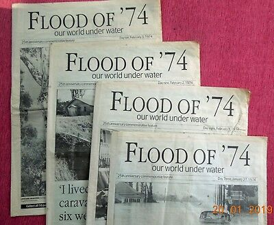 The Qld. Times newspaper reprints of original Flood Of '74. Ipswich flood. 4 of.