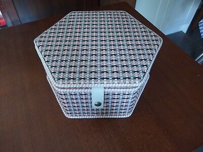Vintage Sewing / Craft Storage Box~~Pink Satin Lined~Woven Outer