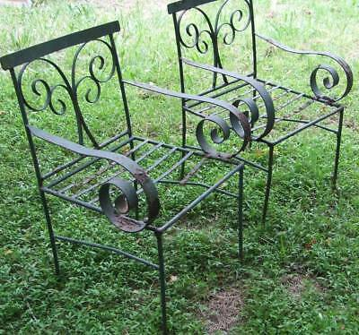 Pair Antique Wrought Iron Chairs Rustic Garden Display